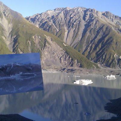 Gletschersee des Abel Tasman Gletschers am Mount Cook. Man beachte den Unterschied in 4 Monaten!